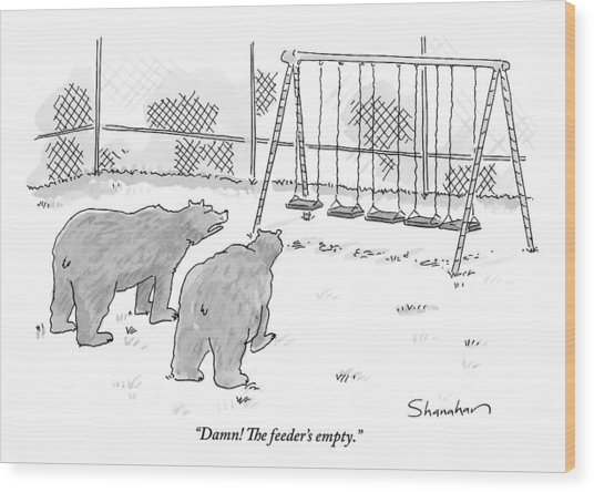 Two Bears Walk Up To An Empty Swing Set Wood Print