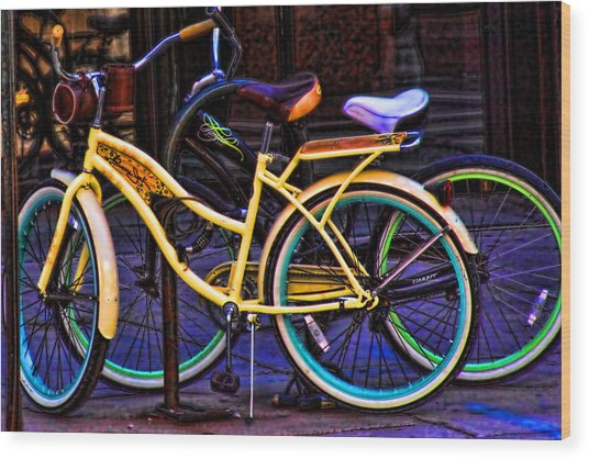 Two Bikes Wood Print