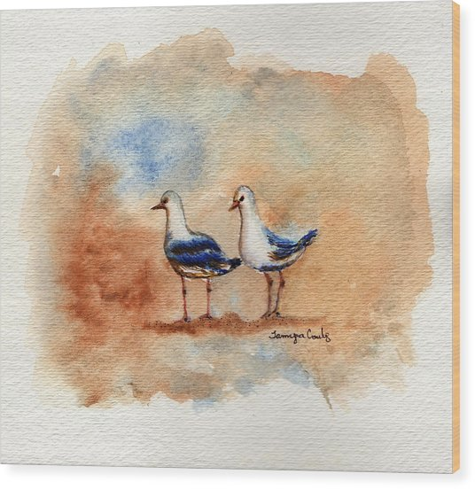 Two Birds Wood Print