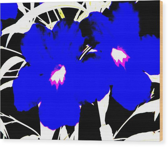 Two Blue Jack Flowers Wood Print