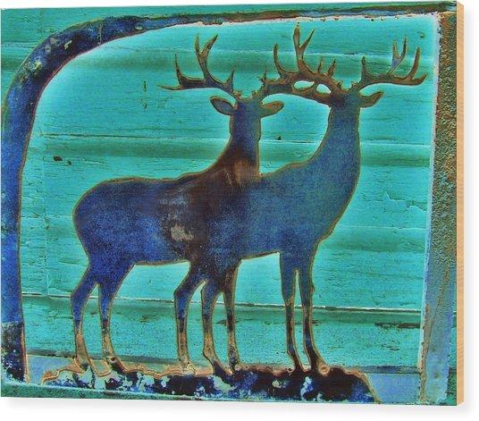 Two Bucks Wood Print