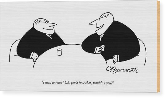 Two Businessmen Sit And Speak At A Table Digibuy Wood Print