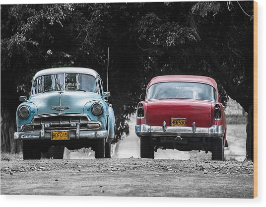 Two Cars Passing Wood Print