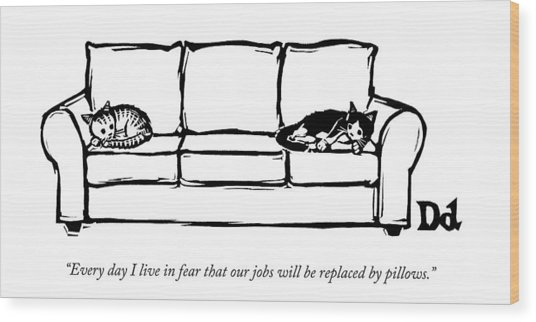 Two Cats Curl Up At Each End Of A Sofa Wood Print