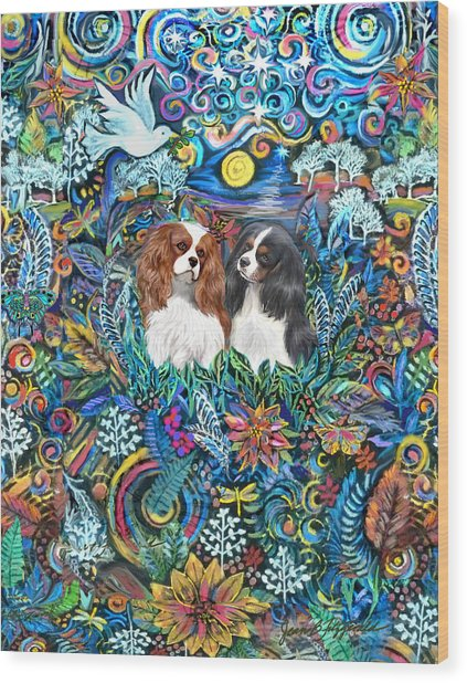 Two Cavaliers In A Garden Wood Print