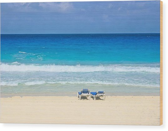 Two Chairs On Cancun Beach Wood Print