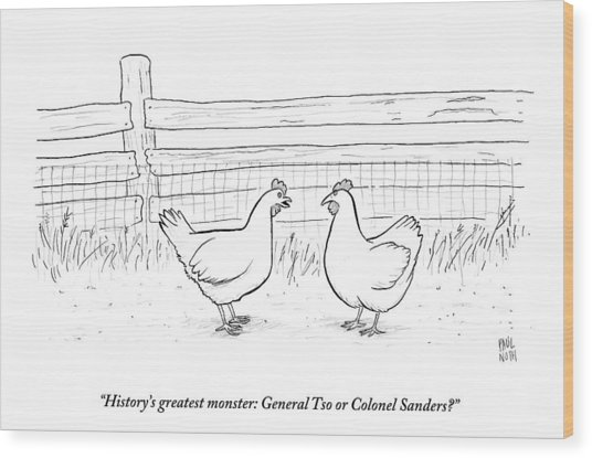 Two Chickens Discuss History Wood Print