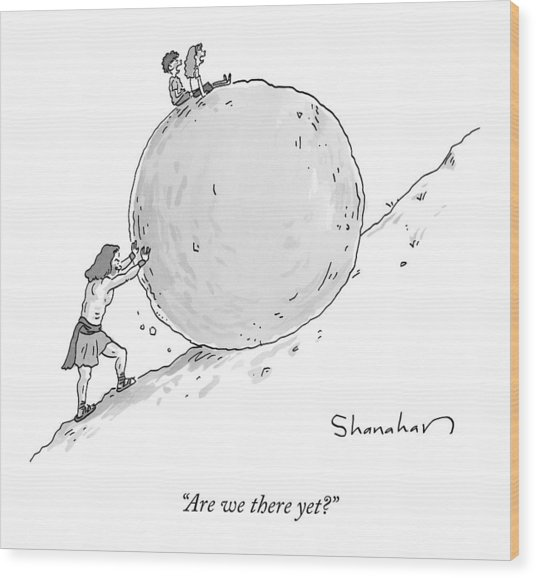 Two Children Sit At The Top Of Sisyphus's Boulder Wood Print