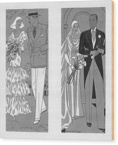 Two Couples Getting Married Wood Print