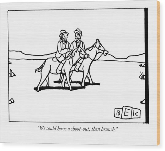 Two Cowboys On Horseback Talk To Each Other Wood Print