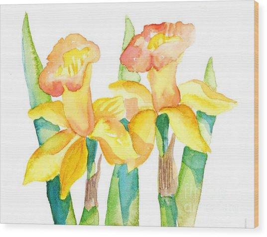 Two Daffodils Wood Print