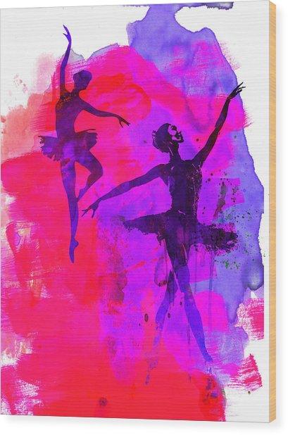 Two Dancing Ballerinas 3 Wood Print