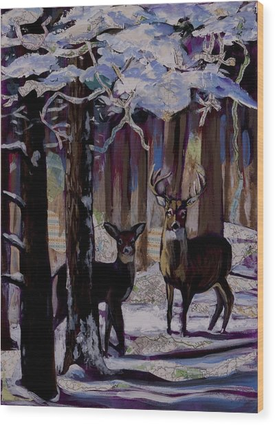 Two Deer In Snow In Woods Wood Print
