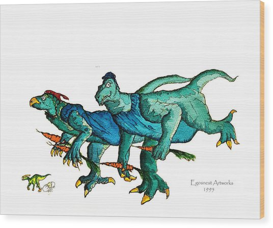 Two Dinos On The Run  Wood Print