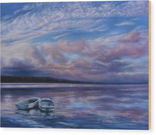 Two Dorys Waterscape  Wood Print