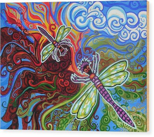 Two Dragonflies Wood Print