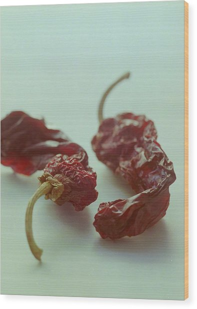 Two Dried Peppers Wood Print