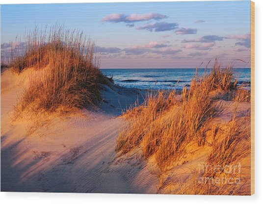 Two Dunes At Sunset - Outer Banks Wood Print