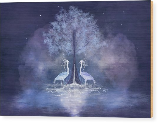 Two Fabulous Herons Wood Print