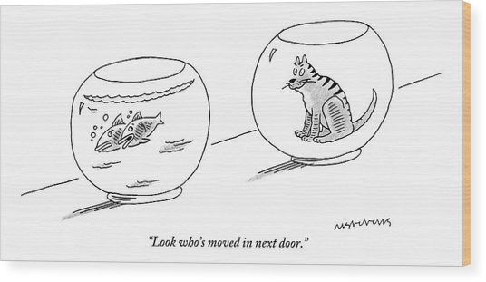 Two Fish Bowls. One Filled With Water And Two Wood Print