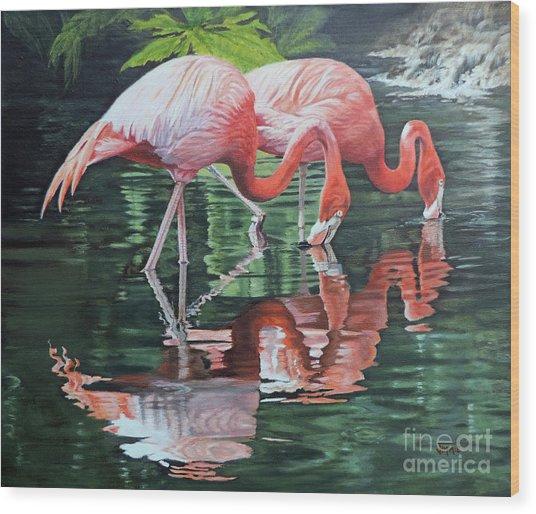 Two Flamingos Wood Print