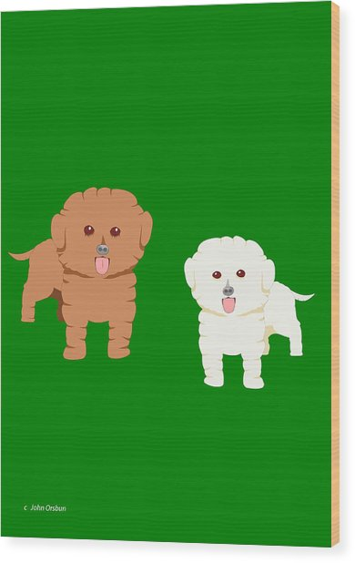 Two Fluffy Dogs Wood Print