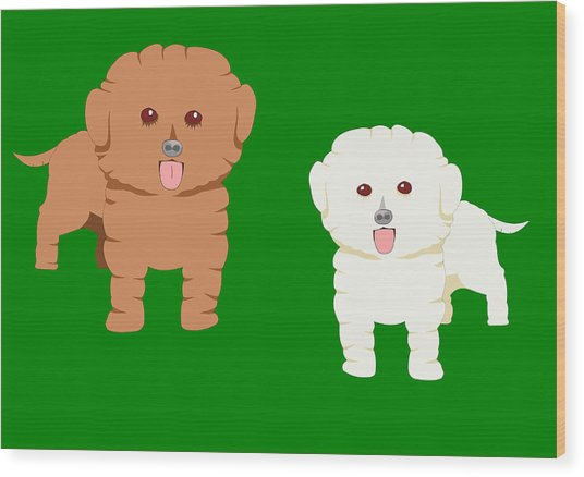 Two Fluffy Pet Dogs Wood Print