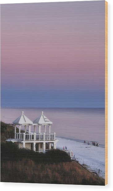 Two For Joy - Twin Gazebos At Twilight Wood Print