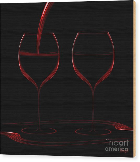 Two Glass Red Wood Print