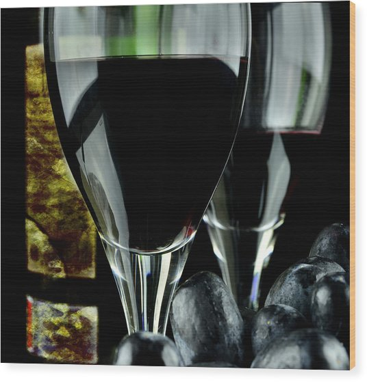 Two Glasses With Red Wine Wood Print