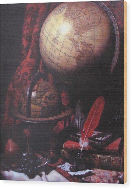 Two Globes Wood Print by Takayuki Harada
