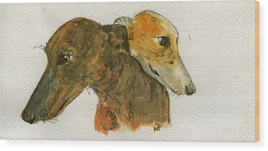 Two Greyhounds Wood Print