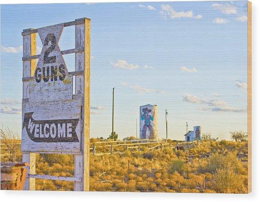Two Guns At Sunset Wood Print