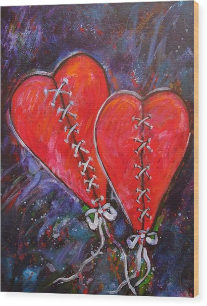 Two Hearts Wood Print