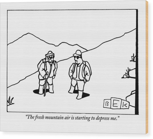 Two Hikers Are Talking To Each Other Outdoors Wood Print