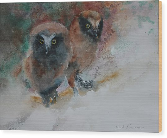Wood Print featuring the painting Two Hoots by Ruth Kamenev
