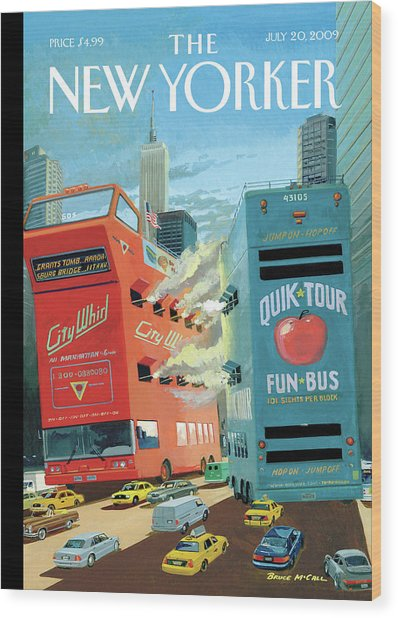 Two Huge Double Decker Tourist Buses Shooting Wood Print by Bruce McCall