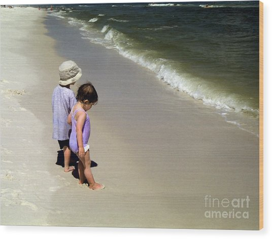 Two Kids At The Beach Wood Print