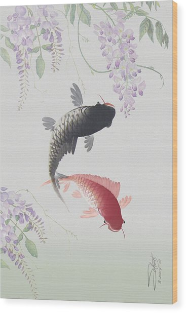 Two Koi And Wisteria Blossoms Wood Print