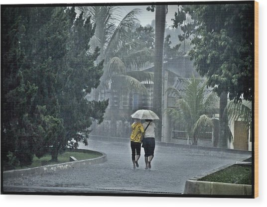 Two Ladies With One Umbrella Wood Print by Achmad Bachtiar