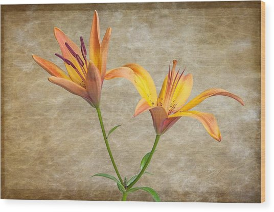 Two Lilies Wood Print