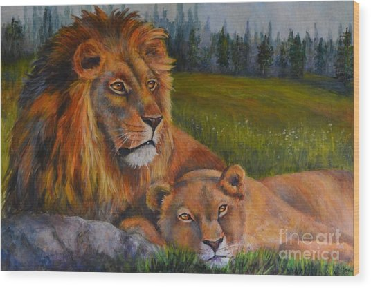 Two Lions Wood Print by Jana Baker