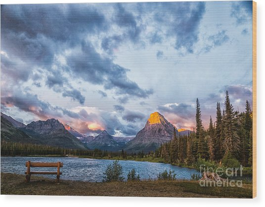 Two Medicine Lake Sunrise Wood Print