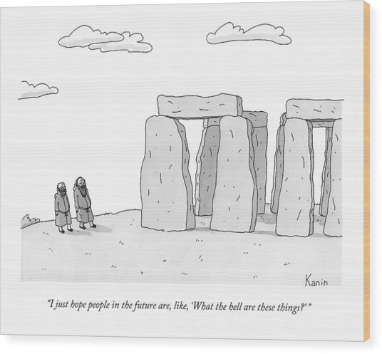 Two Men In Robes Chat Beside Stonehenge Wood Print