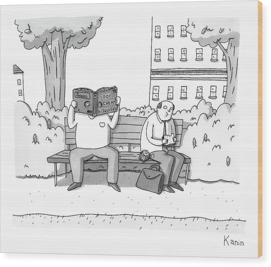 Two Men On A Bench. One Is Eating A Sandwich Wood Print