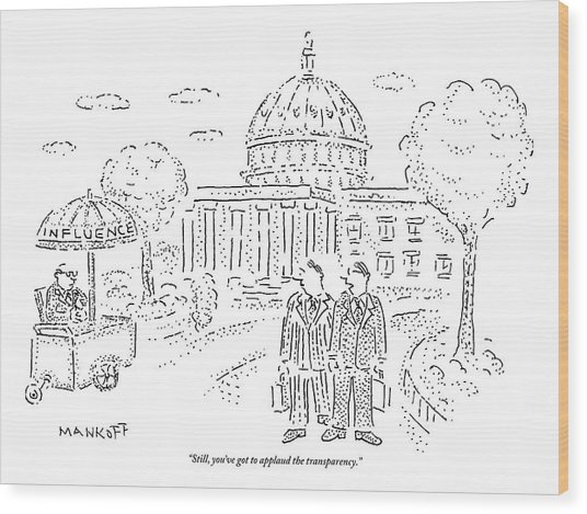 Two Men Speak In Front Of The Capitol And Look Wood Print