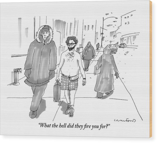 Two Men Walk Down The Sidewalk Together: One Wood Print