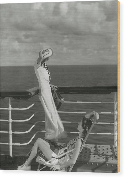 Two Models On The Deck Of A Cruise Ship Wood Print by Edward Steichen