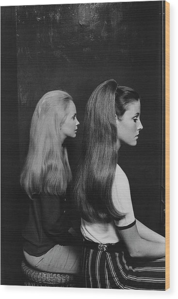 Two Models Wearing Hairpieces Wood Print