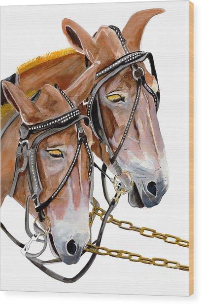 Two Mules - Enhanced Color - Farmer's Friend Wood Print